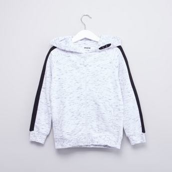 Printed Hoodie with Pocket Detail and Ribbed Hems