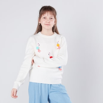 Flamingo Embroidered Round Neck Jumper with Pom Poms
