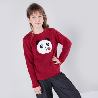 Textured Round Neck Jumper with Long Sleeves and Panda Applique