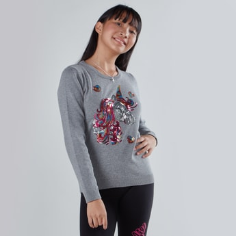 Sequin Detail Sweatshirt with Round Neck and Long Sleeves