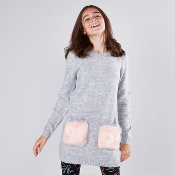 Solid Longline Sweater with Long Sleeves and Furry Pocket Detail