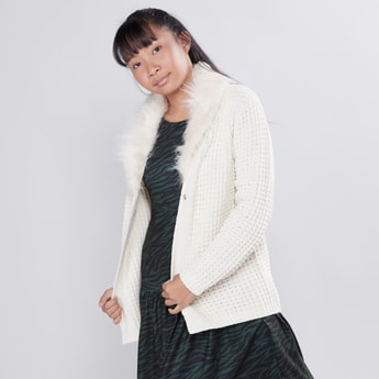 Textured Cardigan with Long Sleeves and Button Closure