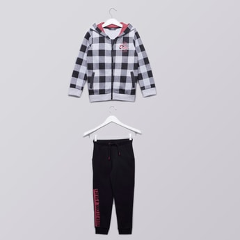 Chequered Sweatshirt with Printed Full Length Jog Pants