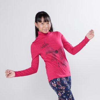 Printed T-shirt with High Neck and Long Sleeves