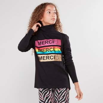 Printed T-shirt with Turtle Neck and Long Sleeves