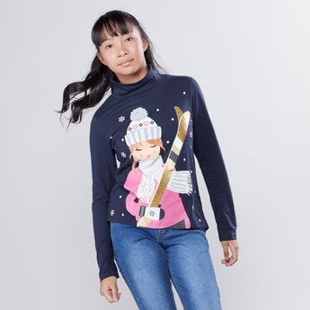 Printed High Neck T-shirt with Long Sleeves