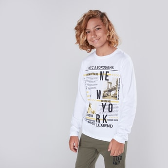 New York Graphic Printed T-shirt with Long Sleeves