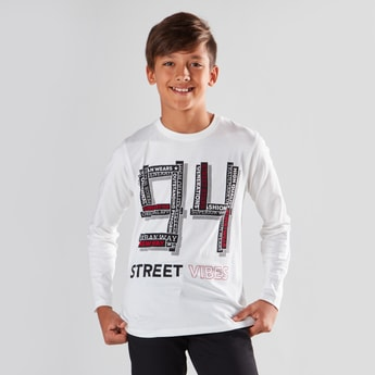 Numeric Print Round Neck T-shirt with Long Sleeves
