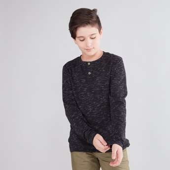 Textured T-shirt with Henley Neck and Long Sleeves