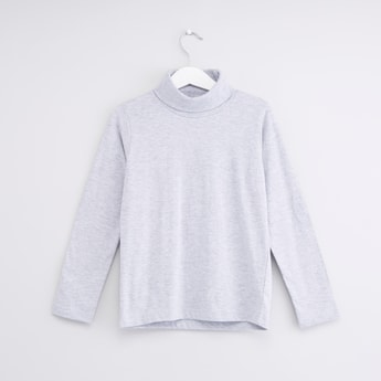 Solid High-Neck T-shirt with Long Sleeves