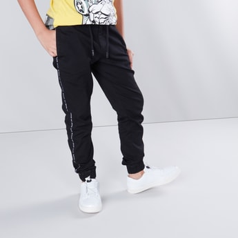 Full Length Jog Pants with Printed Tape and Pocket Detail
