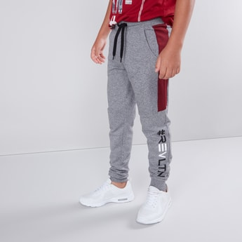 Text Printed Joggers with Pocket Detail and Drawstring Closure