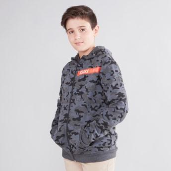 Printed Jacket with Kangaroo Pockets and Hood