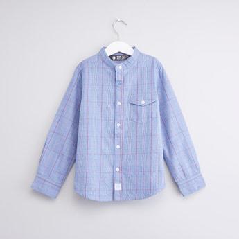 قميص كاروهات بياقة ماندارين وأكمام طويلة