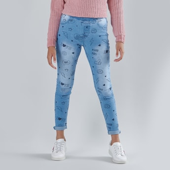 Printed Jeggings with Elasticised Waistband and Pocket Detail