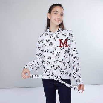Mickey Mouse Printed Shirt with Long Sleeves and Tie Ups