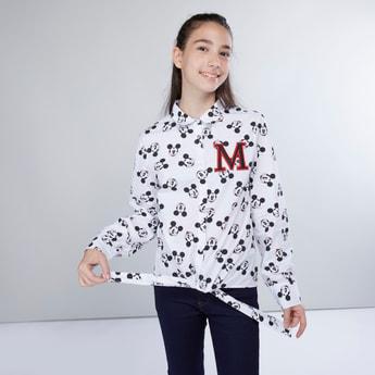 قميص بأكمام طويلة وأربطة وطبعات ميكي ماوس