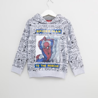 Spider-Man Printed Hoodie with Long Sleeves