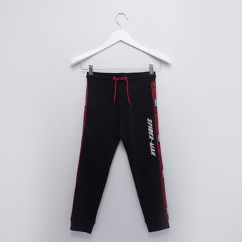 Spider-Man Printed Tape Detail Cuffed Joggers with Drawstring Closure