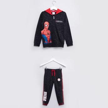 Spiderman Printed Hoodie and Jog Pants Set