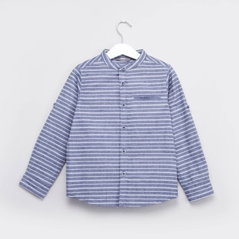 Striped Shirt with Mandarin Collar and Roll-Up Sleeves