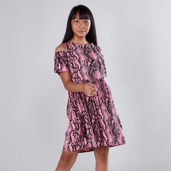 Printed Round Neck Cold Shoulder Flared Dress