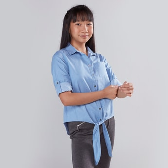 Plain Shirt with Long Sleeves and Tie Ups