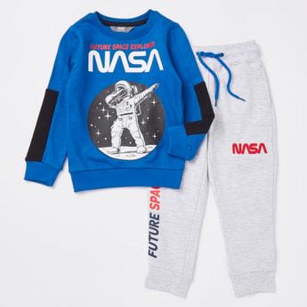 NASA Print Long Sleeves Sweatshirt and Jog Pants Set