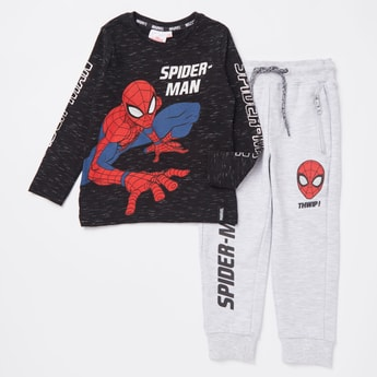 Spider-Man Print Round Neck T-shirt and Jog Pants Set