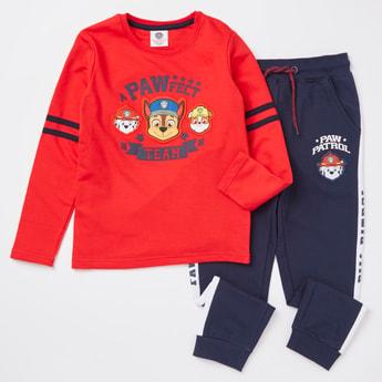 Paw Patrol Print Round Neck T-shirt and Jog Pants Set