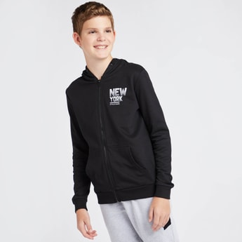 Printed Anti-Pilling Hooded Jacket with Zip Closure