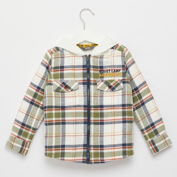 Chequered Shirt with Hood and Long Sleeves