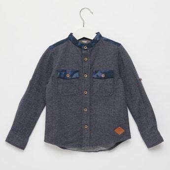 Textured Shirt with Mandarin Collar and Pocket Detail
