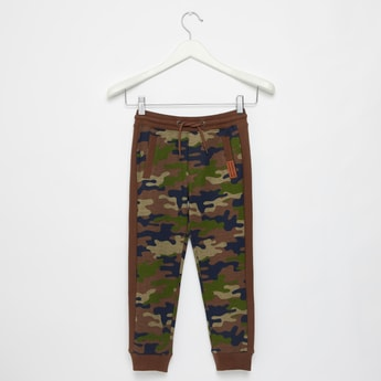 Full Length Camouflage Print Jog Pants with Drawstring Closure