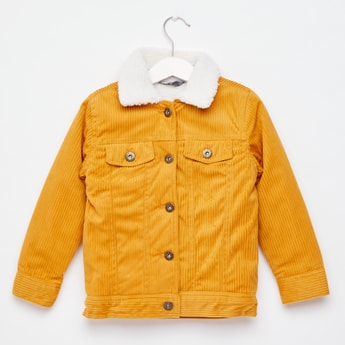 Knit Corduroy Jacket with Long Sleeves and Button Closure