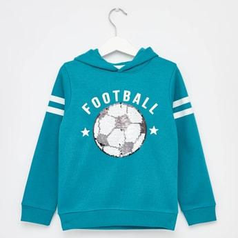 Sequin Embellished Football Sweatshirt with Long Sleeves and Hood