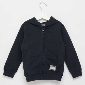 Textured Jacquard Hoodie with Long Sleeves and Pockets