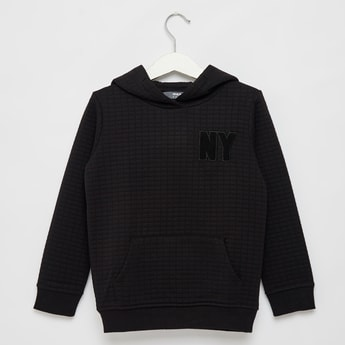 Textured Hoodie with Long Sleeves and Pocket