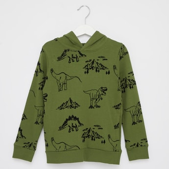 Printed Sweatshirt with Hooded Neck and Long Sleeves
