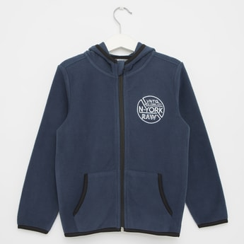 Embroidered Fleece Jacket with Long Sleeves and Hood