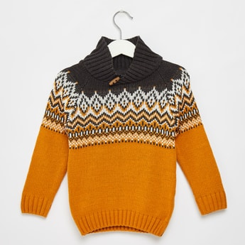 Printed Shawl Neck Pullover with Long Sleeves