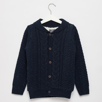 Textured Shawl Neck Sweater with Front Button Closure
