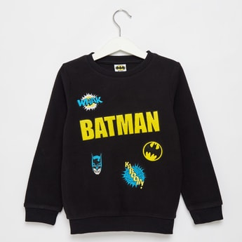 Batman Textured Fleece Sweatshirt with Long Sleeves