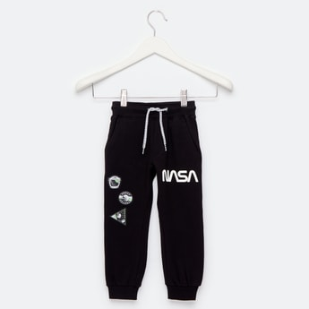 NASA Graphic Print Jog Pants with Pockets and Drawstring Closure