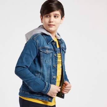 Medium Washed Denim Jacket with Hood and Long Sleeves