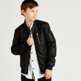 Solid Collared Jacket with Long Sleeves and Zip Closure