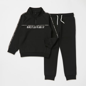 Printed Collared Sweatshirt with Long Sleeves and Jog Pants Set