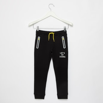 Printed Full Length Joggers with Drawstring Closure and Zipper Pockets