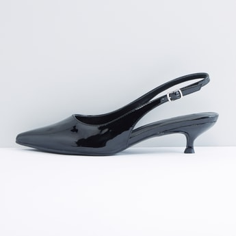 Slingback Pumps with Pin Buckle Closure