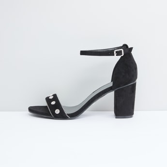 Studded Sandals with Block Heels and Pin Buckle Closure